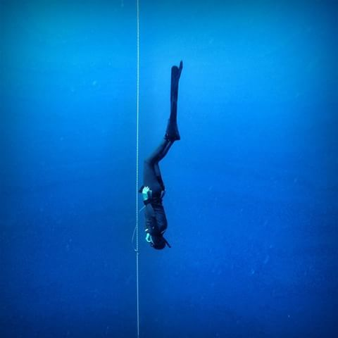 Freefall in Freediving with bi-fins